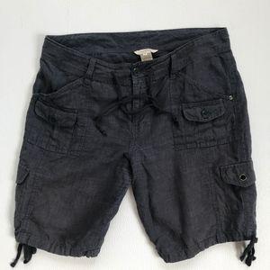 Sundance Catalog 100% Linen Dark Gray Cargo Shorts